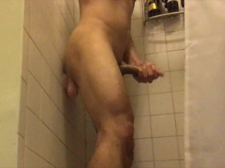 Horny Unabated Varlet Riding Dildo Fro Hammer Away Shower & Cum